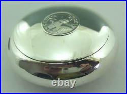 Edwardian Silver Squeeze Box, Tobacco Box Set With Queen Anne Coin