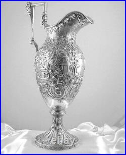 FINEST SAMUEL KIRK COIN SILVER REPOUSSE EWER/PITCHER, CHINESE ETRUSCAN c. 1840