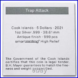 FLASH SALE 2021 Cook Islands 1 oz Antique Silver Trap Attack