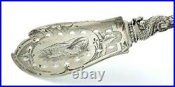 Gorgeous Albert Coles CATTAIL DOLPHIN Coin Silver FISH SERVER 5 oz