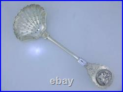Great Early Coin Silver pierced Serving Ladle Sifter with woman Medallion engraved