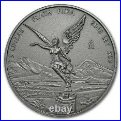 LIBERTAD MEXICO 2018 5 oz Antique Silver Coin in Capsule