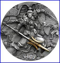 LYU BU ANCIENT CHINESE WARRIOR 2020 2 oz $5 High Relief Antique Silver Coin NIUE