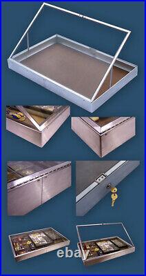 Large Aluminium Dealer Lockable Show Display Case Antique Coin Gold Silver Watch