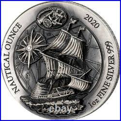 MAYFLOWER NAUTICAL OUNCE 2020 1 oz High Relief Antique Silver Coin Rwanda