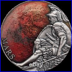 Mars Planets and Gods 3 oz Antique finish Silver Coin CFA Cameroon 2020