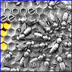 NEW! 2021 2 Oz. 999 Silver $5 Niue HONEY BEE High Relief Antiqued Coin COA OGP