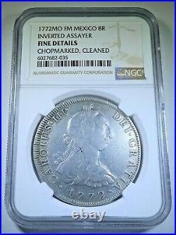 NGC 1772 Inverted FM Mexico 8 Reales Antique 1700's Spanish Colonial Dollar Coin