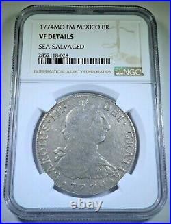 NGC 1774 Shipwreck Spanish 8 Reales Genuine Antique VF Silver Dollar Pirate Coin