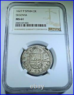 NGC MS61 1627 Spanish Silver 2 Reales Old BU Antique 1600's Two Bits Pirate Coin