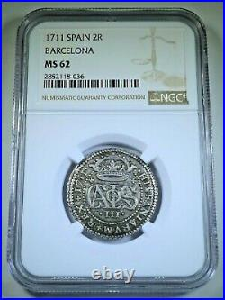 NGC MS62 1711 Spanish Silver 2 Reales Antique 1700's BU Colonial Two Bits Coin