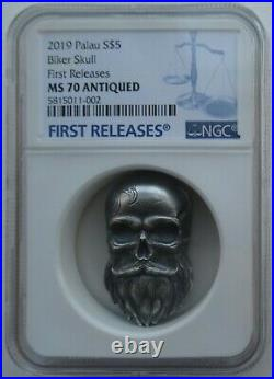 NGC MS70 First Releases Palau 2019 Biker Skull Antiqued Silver Coin 1oz COA Box
