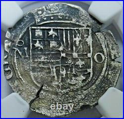 NGC VF Details 1500's Spanish Silver 1 Reales Antique Colonial Pirate Cob Coin