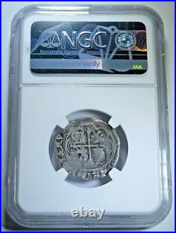 NGC VG10 1500's Spanish Silver 1 Reales Antique Graded Colonial Pirate Cob Coin