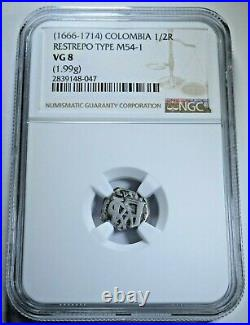 NGC VG8 1666-1714 Colombia 1/2 Reales Restrepo Type M54-1 1.99g Antique Cob Coin