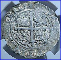 NGC XF-45 Philip II 1500s Mexico Silver 4 Reales Antique Spanish Pirate Cob Coin