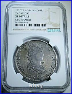 NGC XF Details 1820 Mexico Silver 8 Reales Antique Colonial Dollar Pirate Coin