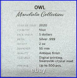 Niue 2020 Mandala Collection Owl 2 oz Antiqued Finish Silver Coin