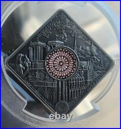 Palau Notre Dame Sacred Art Holy Windows Silver Coin PCGS MS70 FDI Antiqued