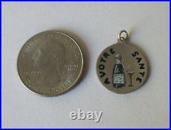 RARE VTG ANTIQUE FRENCH SILVER ENAMEL CHAMPAGNE LOVE TOKEN CHARM 1918 Coin