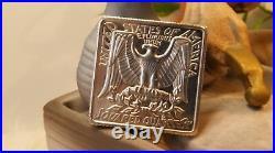 Rare! Vintage 1984 Square Washington Quarter 1/2 Ozt Silver Coin, Great Condition