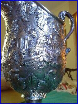 S Kirk & Son coin silver repousse water pitcher12Height