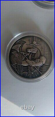 SOBEK 2oz SILVER ULTRA HIGH RELIEF ROUND EGYPTIAN GODS SERIES COIN 999 Antiqued