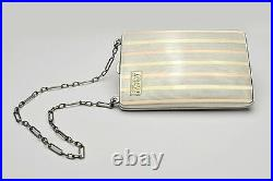 STERLING SILVER & 18K ART DECO LADIES DANCE / COIN PURSE with COMPACT