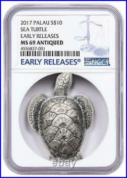 Sea Turtle 2017 Silver Coin $10 Ngc Ms 69 Antiqued Er