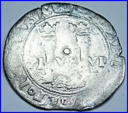 Spanish Mexico 1500's 1 Reales Carlos and Johanna Antique Silver Pirate Cob Coin
