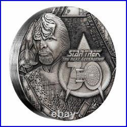 Star Trek Next Generation Lieutenant Commander Worf 2017 2oz Silver Antique Coin