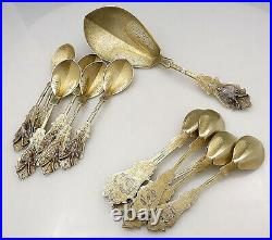 Stunning Duhme STAG Dessert Set Coin Silver 13 Pieces c1860