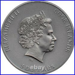 TRAP ATTACK 1 oz Silver Antique Finish Coin in Box+COA 2021 Cook Islands $5