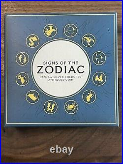 Tuvalu Signs of the Zodiac 5 oz Silver 2020 Colored Antiqued Coin Perth Mint