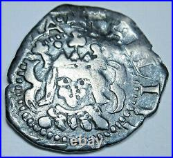 Valencia 1624 Spanish Silver 1 Reales Antique 1600's Colonial Cob Pirate Coin