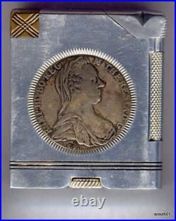 Vintage 2 Antique Silver Coins 1780 Austria Maria Theresa Cigarette Pipe Lighter