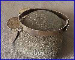 Vintage Antique Engraved Silver Victorian Love Token Bracelet & Coins Sm Wrist