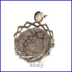 Vtg Antique Chatelaine Sterling Silver Elephant Expandable Mesh Coin Purse LHL3