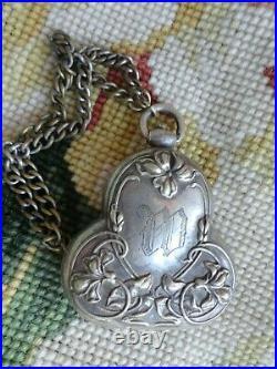 Vtg Art Nouveau Victorian Silver Floral Repousse Coin Case Chatelaine Purse