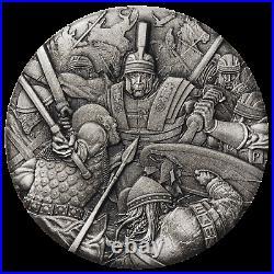 WARFARE ROMAN LEGION 2018 2oz Silver Antique HIGH RELIEF RIMLESS Coin 3D VIEW