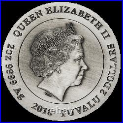 WARFARE VIKINGS 2018 2oz Silver Antique HIGH RELIEF RIMLESS Coin 3D VIEW